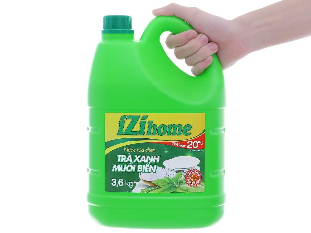 Nước rửa chén IZI HOME hương trà xanh muối biển can 3.6kg 5