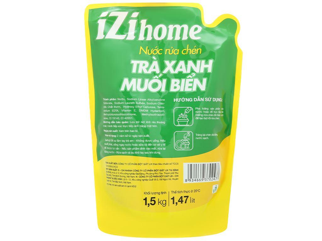 Nước rửa chén IZI HOME hương trà xanh muối biển túi 1.5kg 2