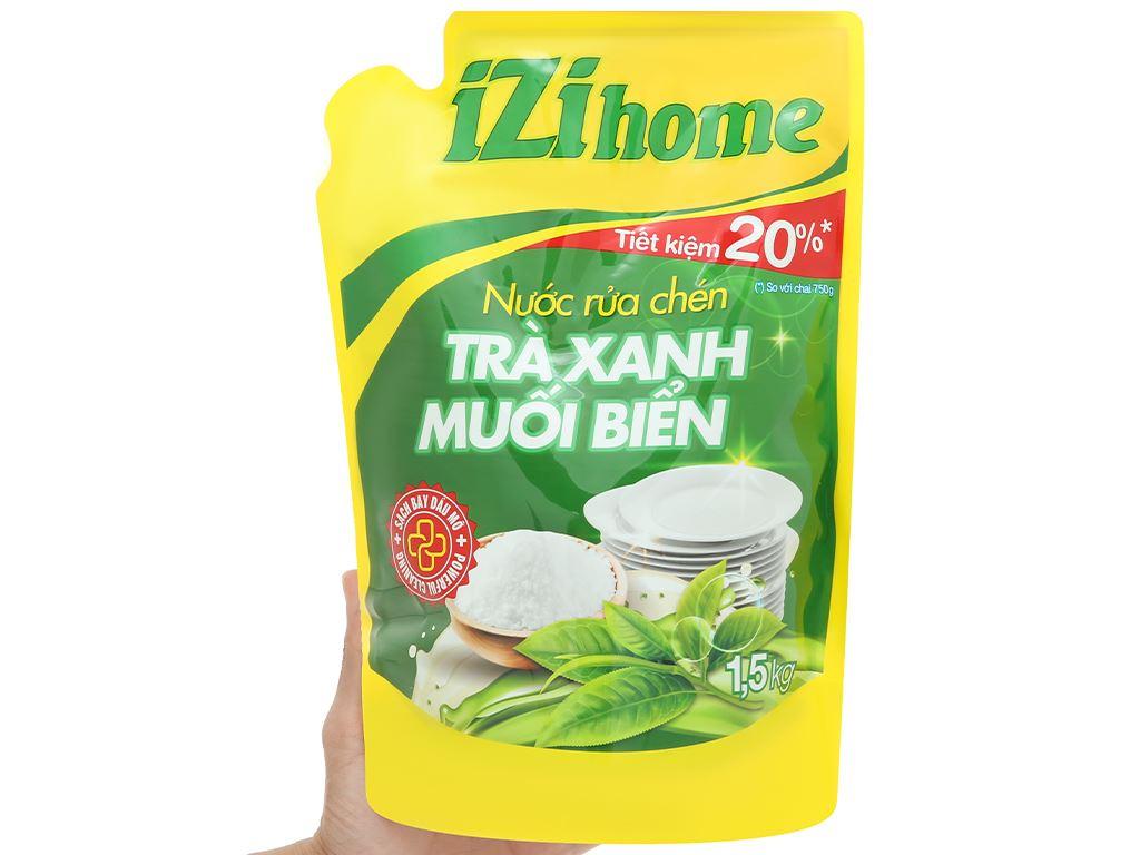 Nước rửa chén IZI HOME hương trà xanh muối biển túi 1.5kg 5