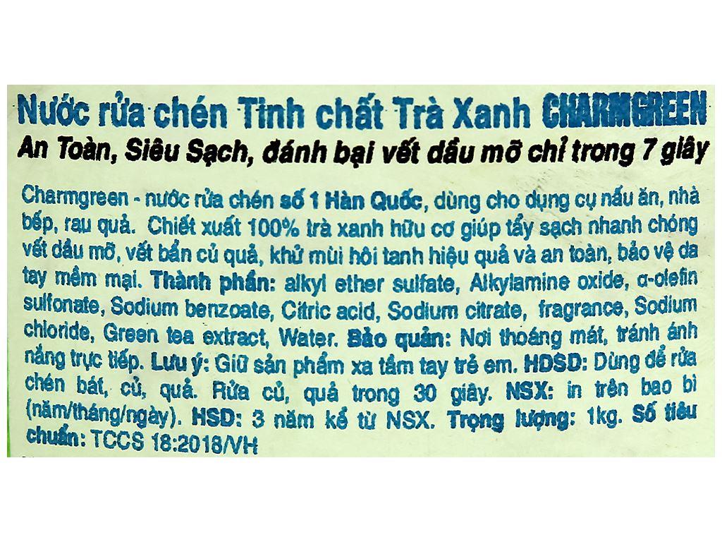 Nước rửa chén Charmgreen tinh chất trà xanh chai 1kg 3