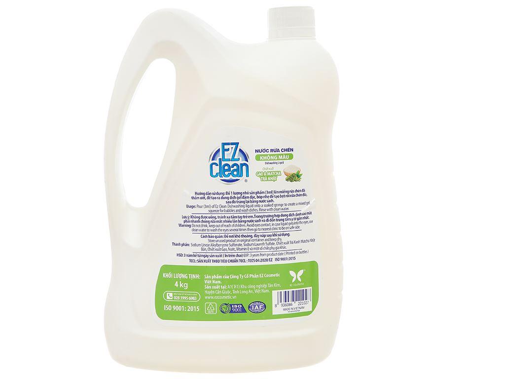 Nước rửa chén Ez Clean chiết xuất gạo và trà xanh can 4kg 2