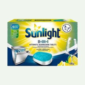 Viên rửa chén Sunlight 5 trong 1 cho máy rửa chén bát với công nghệ pureclean không để lại vết ố 490g (28 viên/hộp)