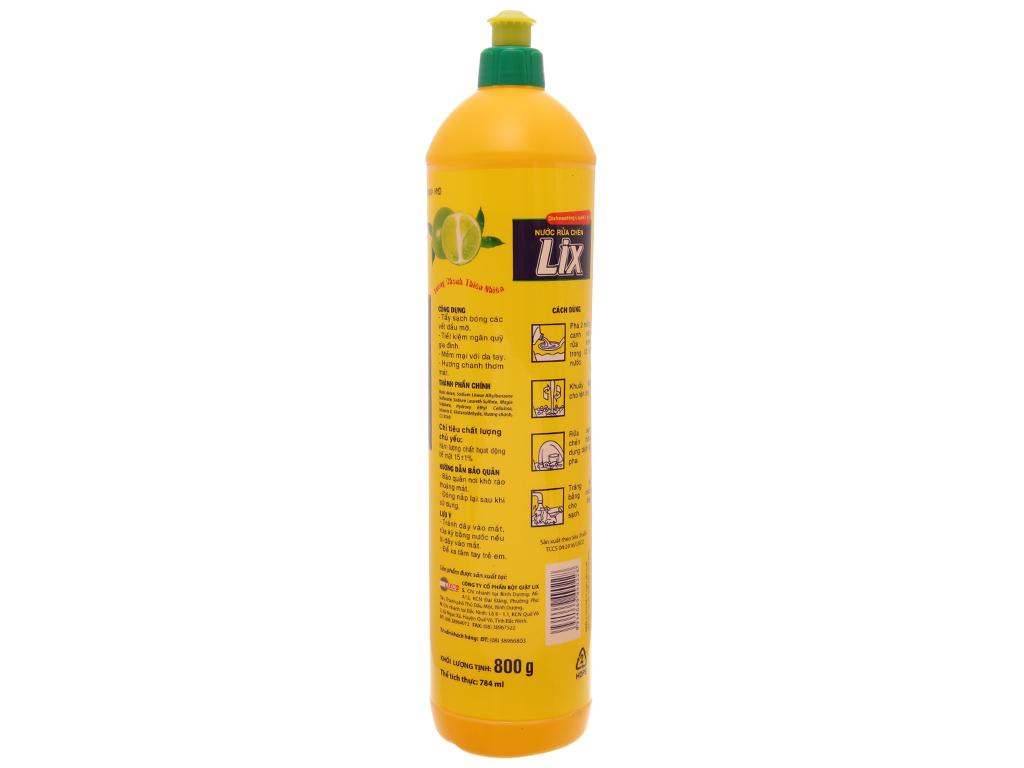 Nước rửa chén Lix Vitamin E hương Chanh 800g 3