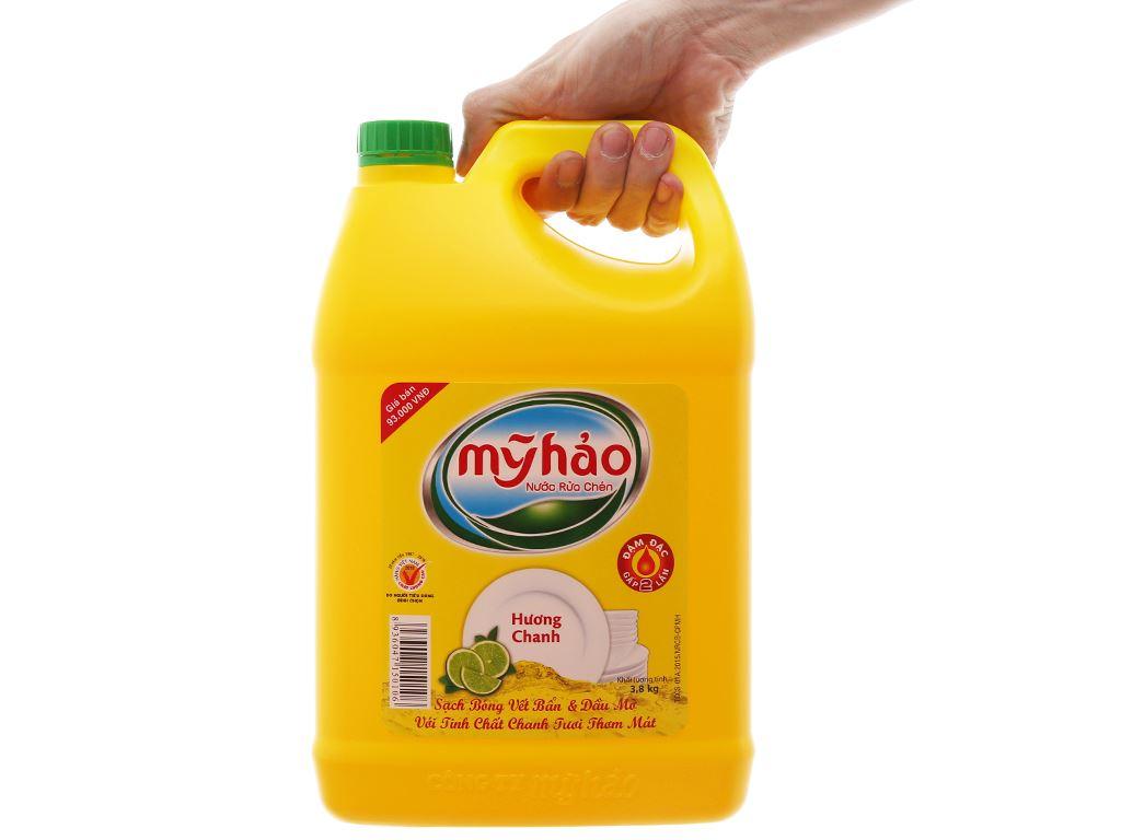 Nước rửa chén Mỹ Hảo hương chanh can 3.8kg 3