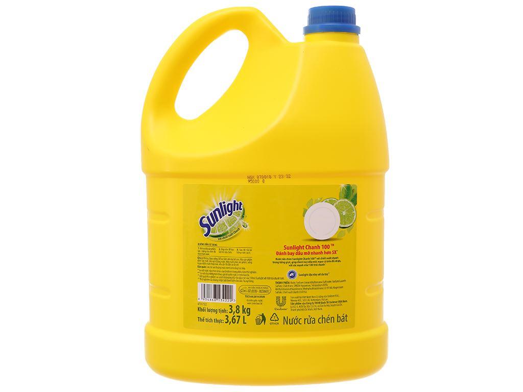 Nước rửa chén Sunlight Chanh 100 chiết xuất chanh tươi can 3.8kg 3