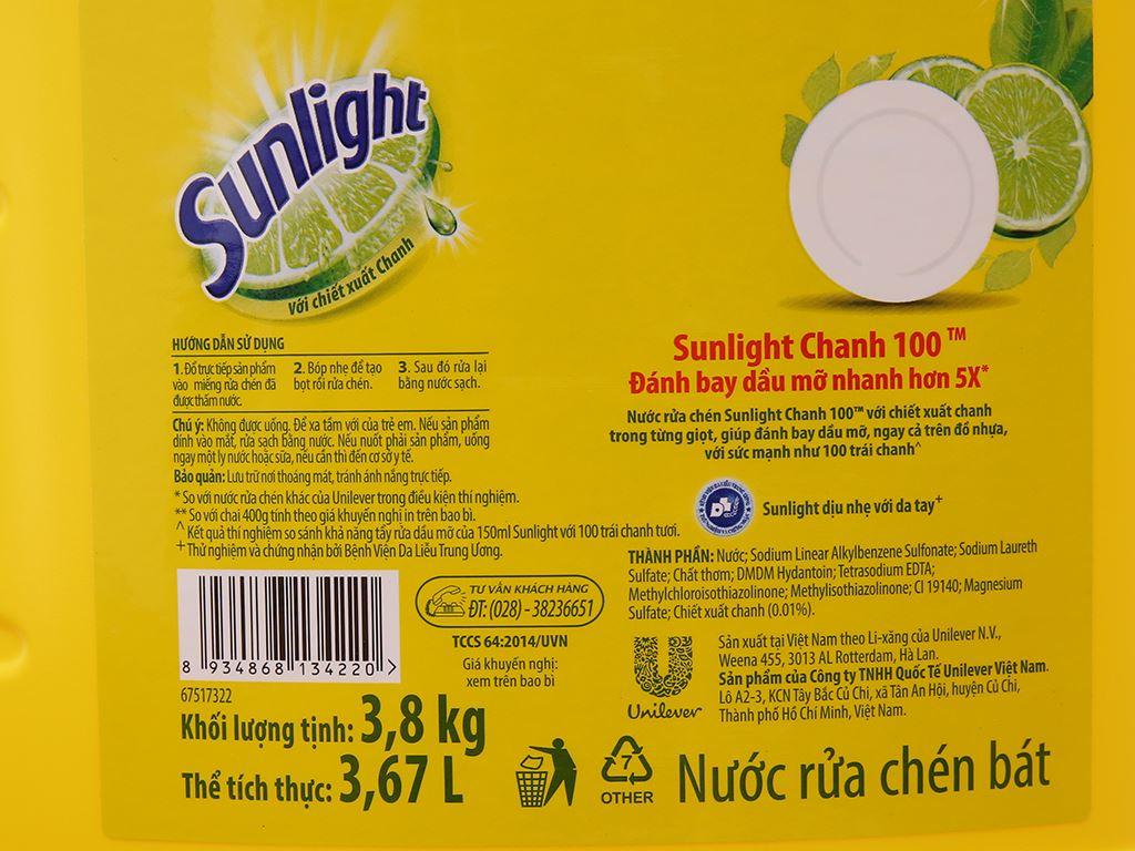 Nước rửa chén Sunlight Chanh 100 chiết xuất chanh tươi can 3.8kg 4