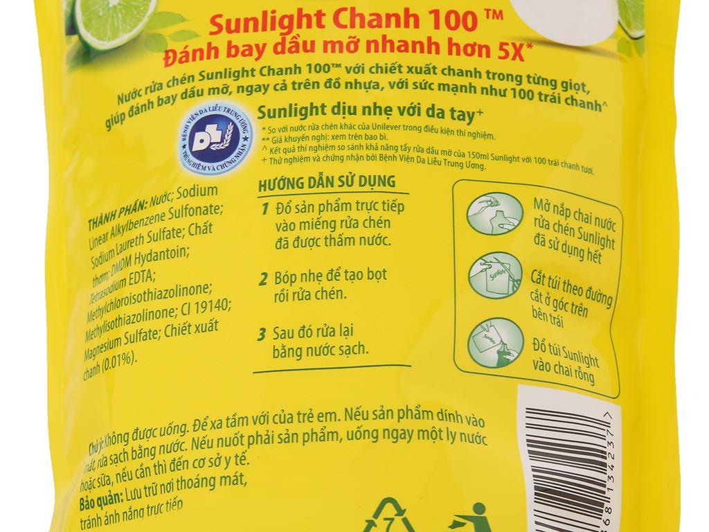 Nước rửa chén Sunlight Chanh 100 chiết xuất chanh tươi túi 725ml 4