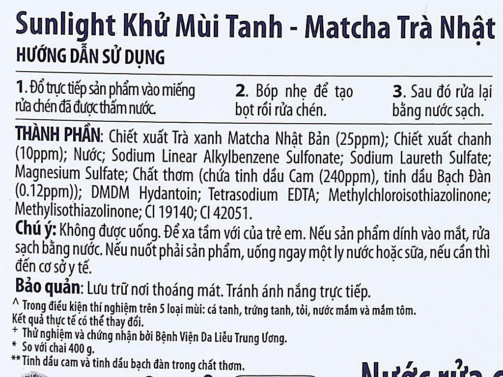 Nước rửa chén Sunlight Extra trà xanh Matcha Nhật Bản can 3.6kg 4