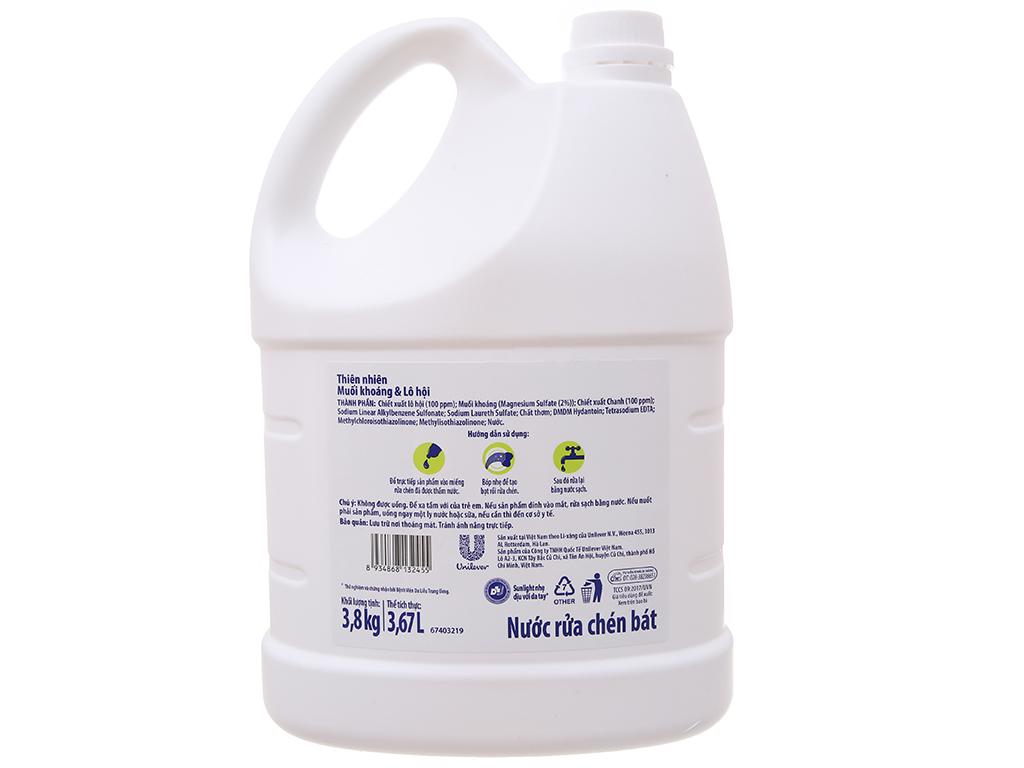 Nước rửa chén Sunlight Extra thiên nhiên muối khoáng và lô hội 3.8kg 3