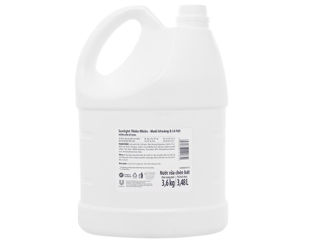 Nước rửa chén Sunlight Extra thiên nhiên muối khoáng và lô hội can 3.48 lít 2