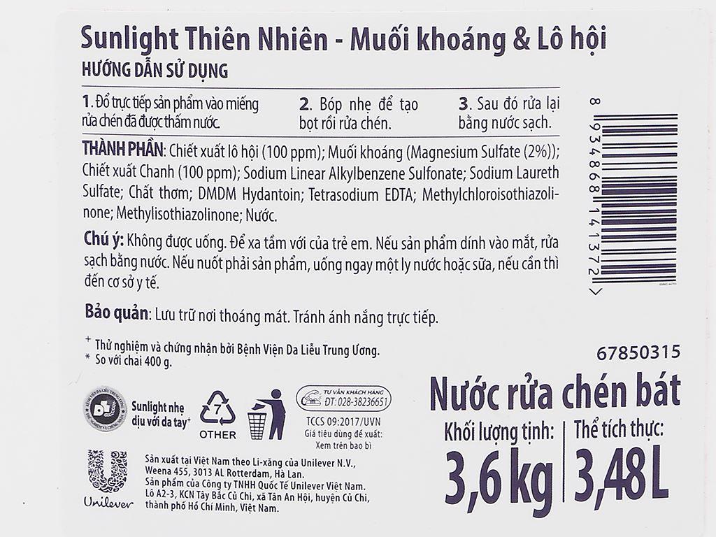 Nước rửa chén Sunlight Extra thiên nhiên muối khoáng và lô hội can 3.48 lít 3