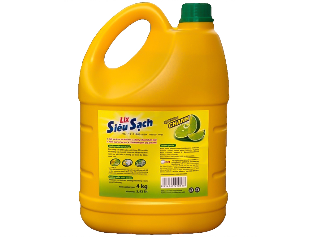 Nước rửa chén Lix Siêu sạch hương chanh 4kg 2