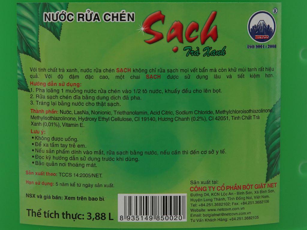 Nước rửa chén NET Sạch Vitamin E hương trà xanh 4kg 4