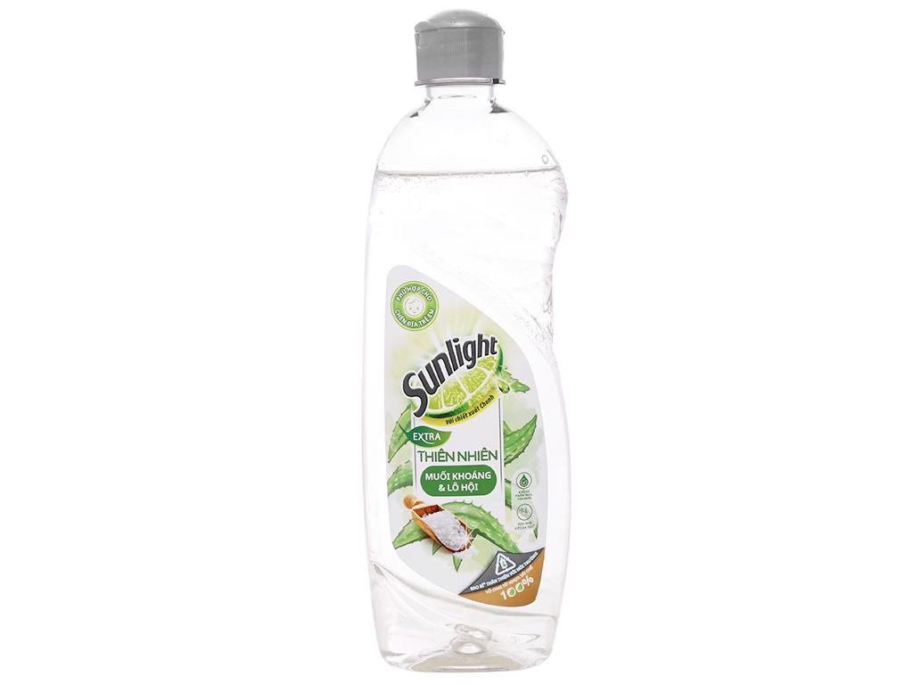 Nước rửa chén Sunlight Extra thiên nhiên muối khoáng và lô hội chai 386ml 1