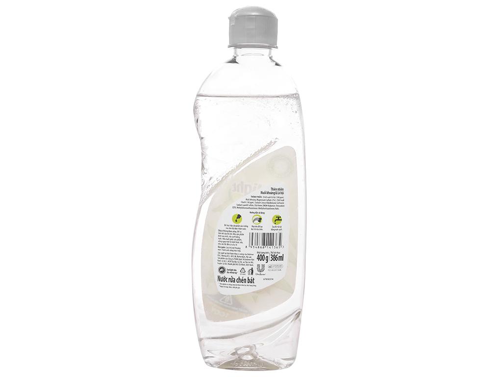 Nước rửa chén Sunlight Extra thiên nhiên muối khoáng và lô hội chai 386ml 2