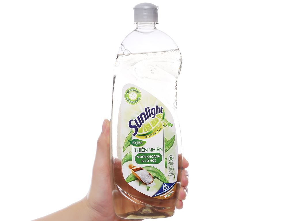Nước rửa chén Sunlight Extra thiên nhiên muối khoáng và lô hội chai 750g 3