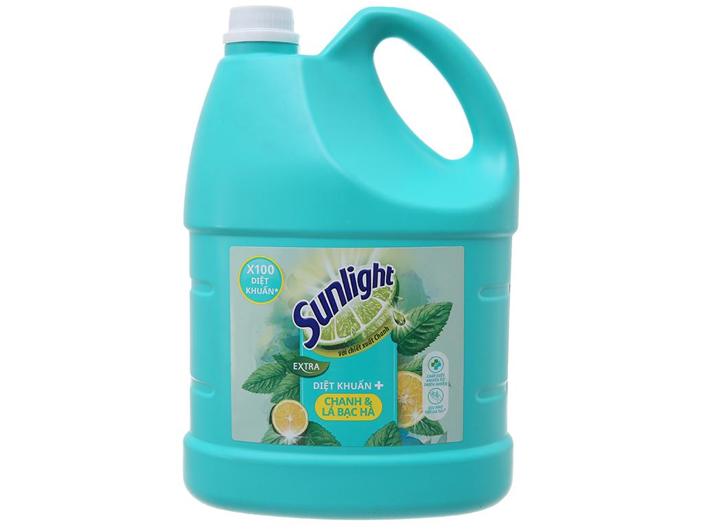 Nước rửa chén Sunlight Extra diệt khuẩn chanh và lá bạc hà 3.8kg 2