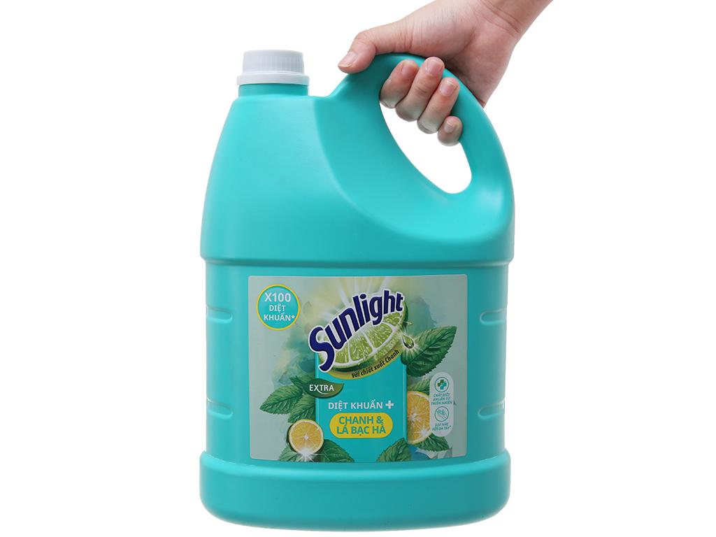 Nước rửa chén Sunlight Extra diệt khuẩn chanh và lá bạc hà 3.8kg 4