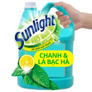 Nước rửa chén Sunlight Extra diệt khuẩn chanh và lá bạc hà can 3.6kg