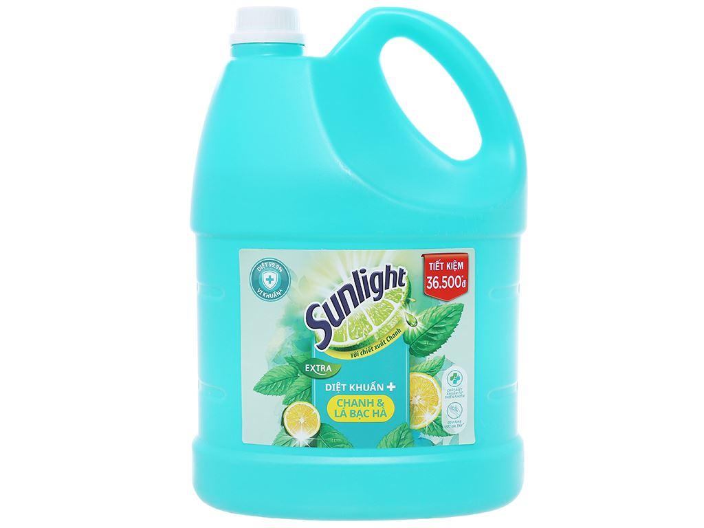 Nước rửa chén Sunlight Extra diệt khuẩn chanh và lá bạc hà can 3.6kg 1