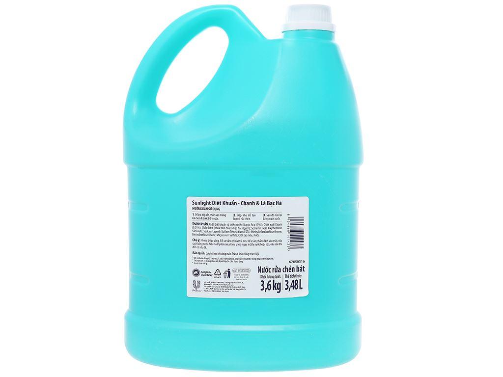 Nước rửa chén Sunlight Extra diệt khuẩn chanh và lá bạc hà can 3.6kg 2
