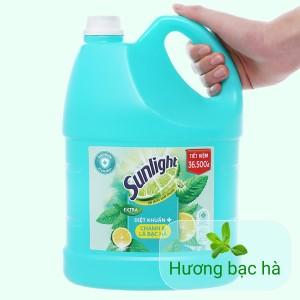 Nước rửa chén Sunlight Extra diệt khuẩn chanh và lá bạc hà can 3.48 lít
