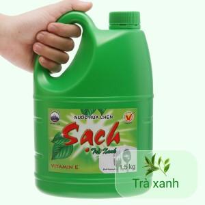Nước rửa chén NET Sạch Vitamin E hương trà xanh can 1.46 lít