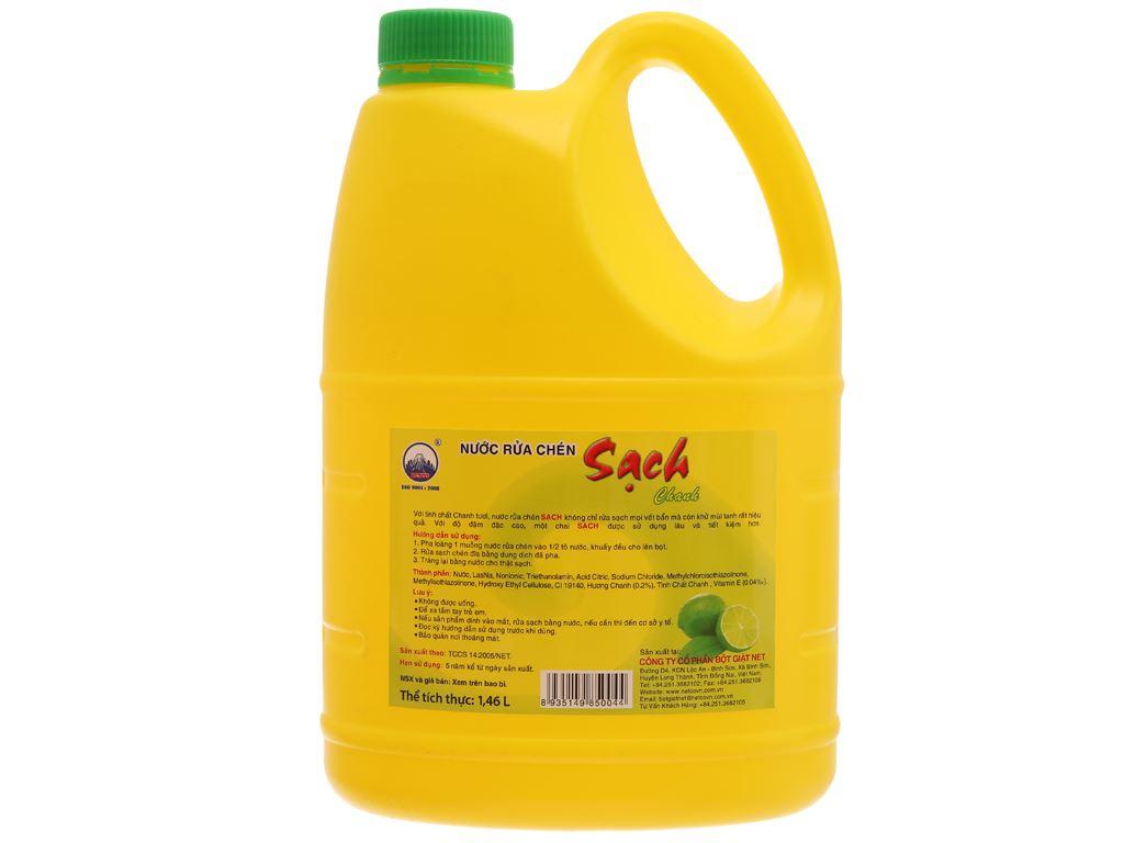 Nước rửa chén NET Sạch Vitamin E hương chanh can 1.46 lít 3