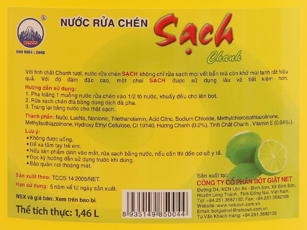 Nước rửa chén NET Sạch Vitamin E hương chanh can 1.5kg 5