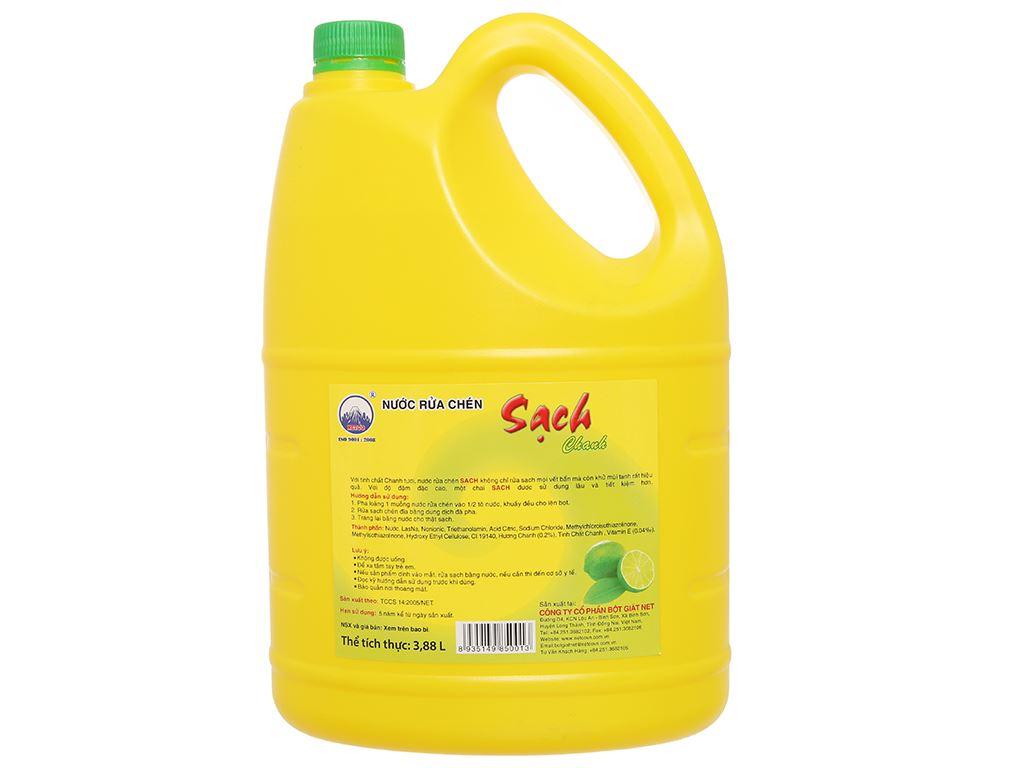Nước rửa chén NET Sạch Vitamin E hương chanh can 3.88 lít 2