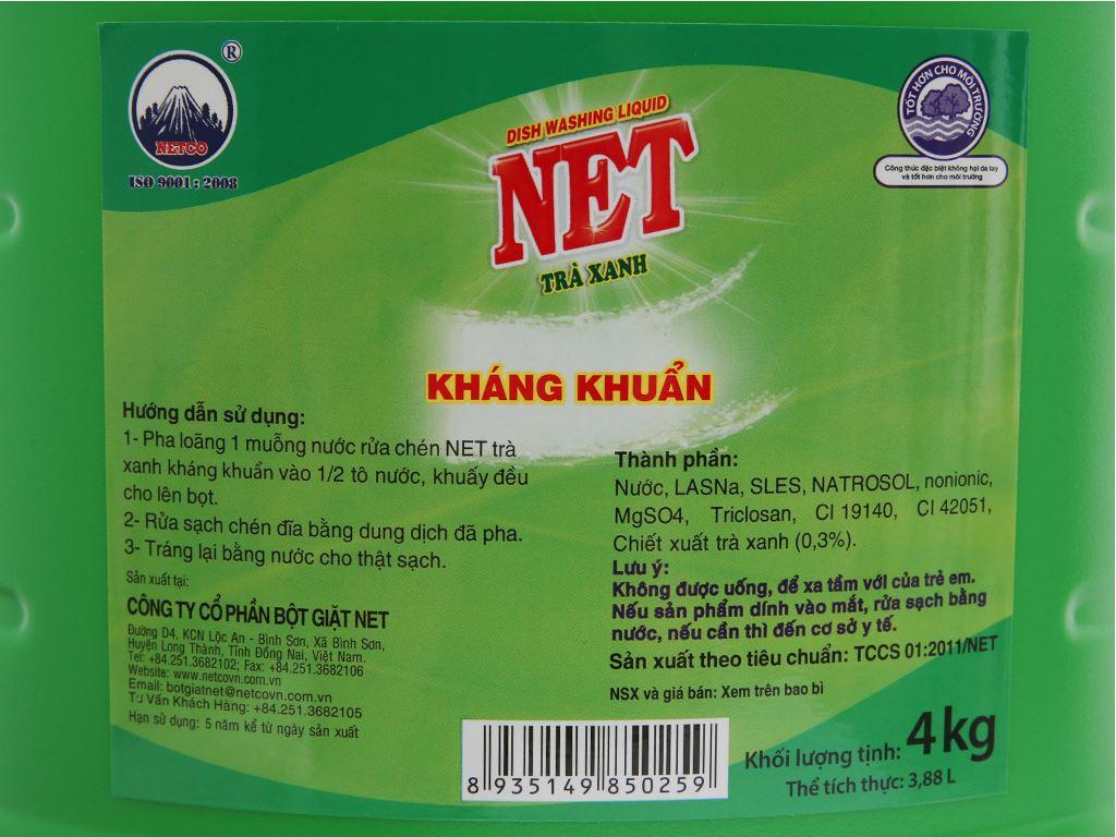 Nước rửa chén NET kháng khuẩn hương trà xanh can 4kg 8
