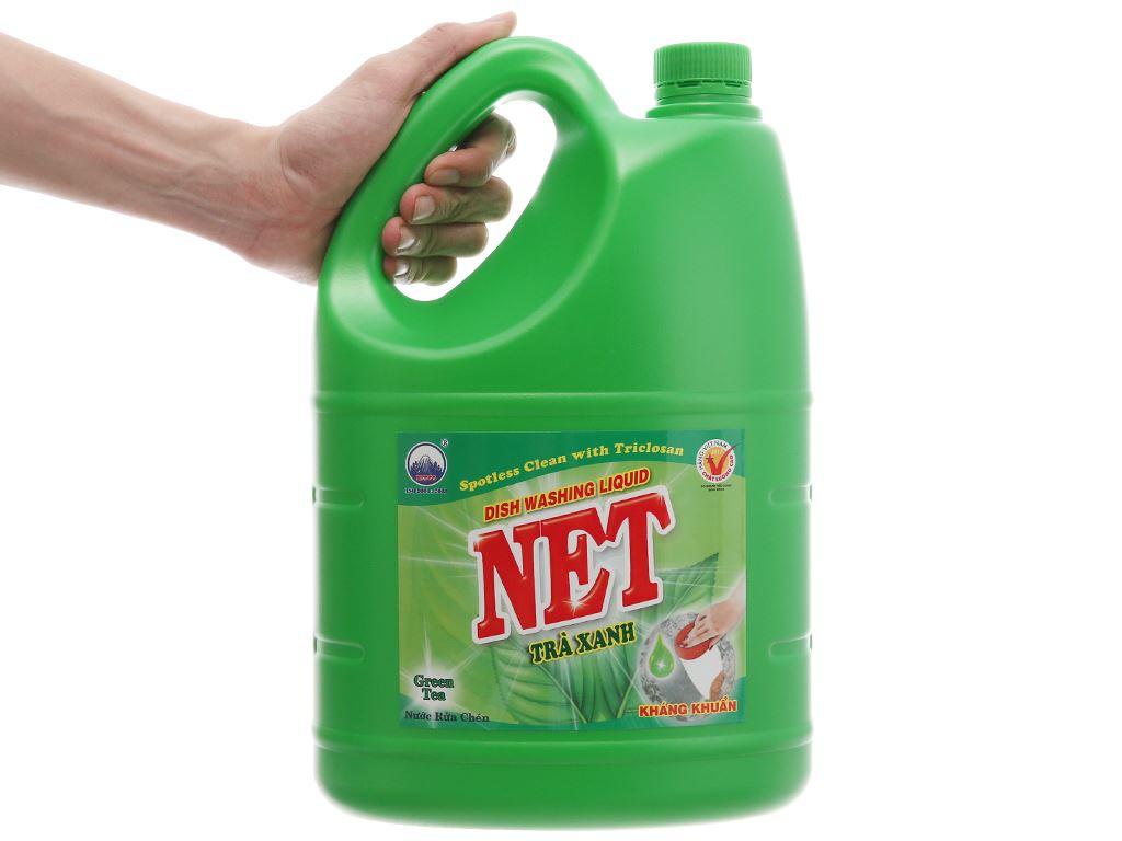 Nước rửa chén NET kháng khuẩn hương trà xanh can 4kg 9