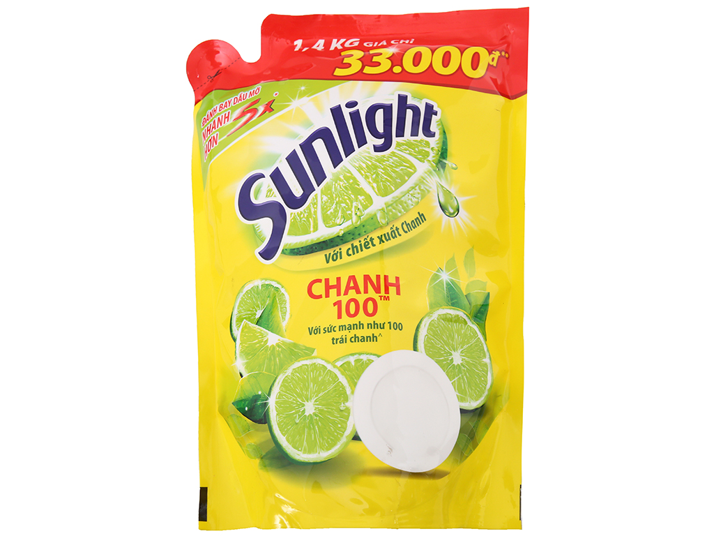 Nước rửa chén Sunlight Chanh 100 chiết xuất chanh tươi túi 1.4kg 2