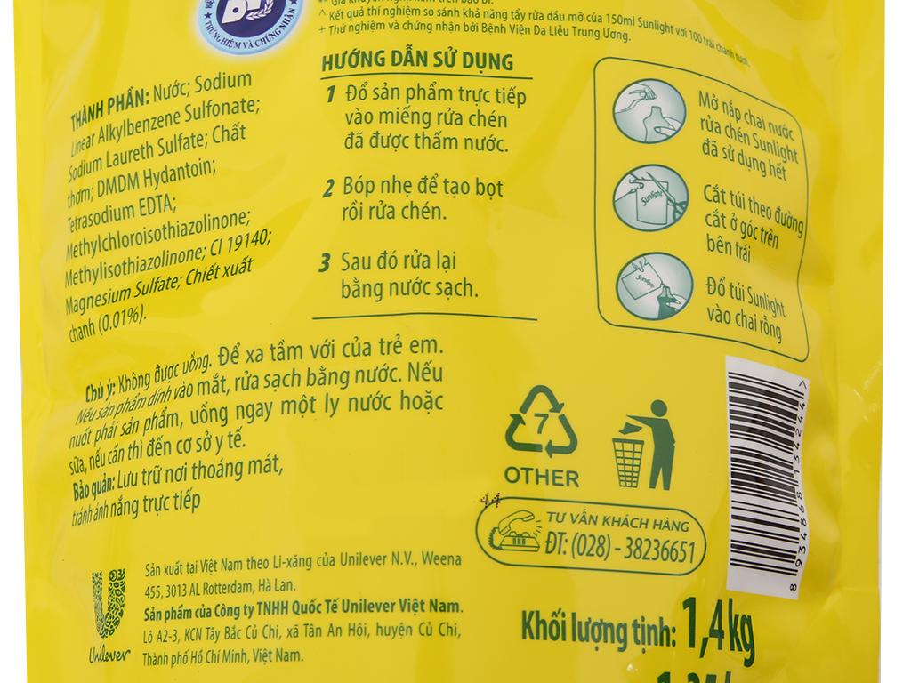 Nước rửa chén Sunlight Chanh 100 chiết xuất chanh tươi túi 1.4kg 4