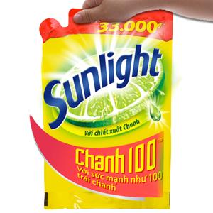 Nước rửa chén Sunlight Chanh 100 chiết xuất chanh tươi túi 1.4kg