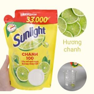 Nước rửa chén Sunlight Chanh 100 chiết xuất chanh tươi túi 1.3 lít