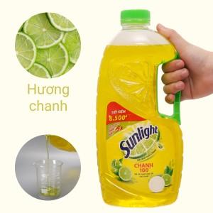 Nước rửa chén Sunlight Chanh 100 chiết xuất chanh tươi chai 1.45 lít