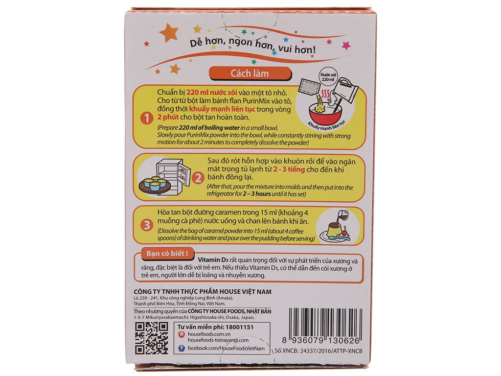 Bột bánh flan House Foods Purin Mix hương vị trứng hộp 55g 2