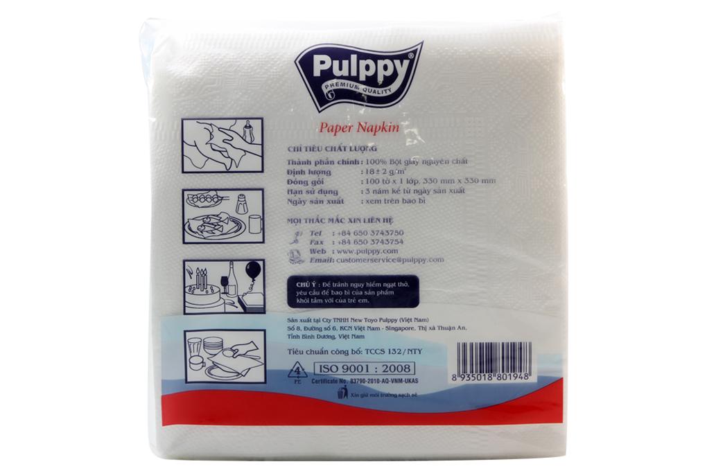 Khăn giấy Napkin Pulppy Supper vuông 100 tờ(330X330mm)