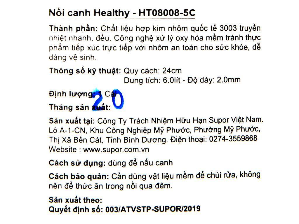 Nồi nhôm oxy hóa mềm 1 đáy Supor HT08008-5 24cm 16