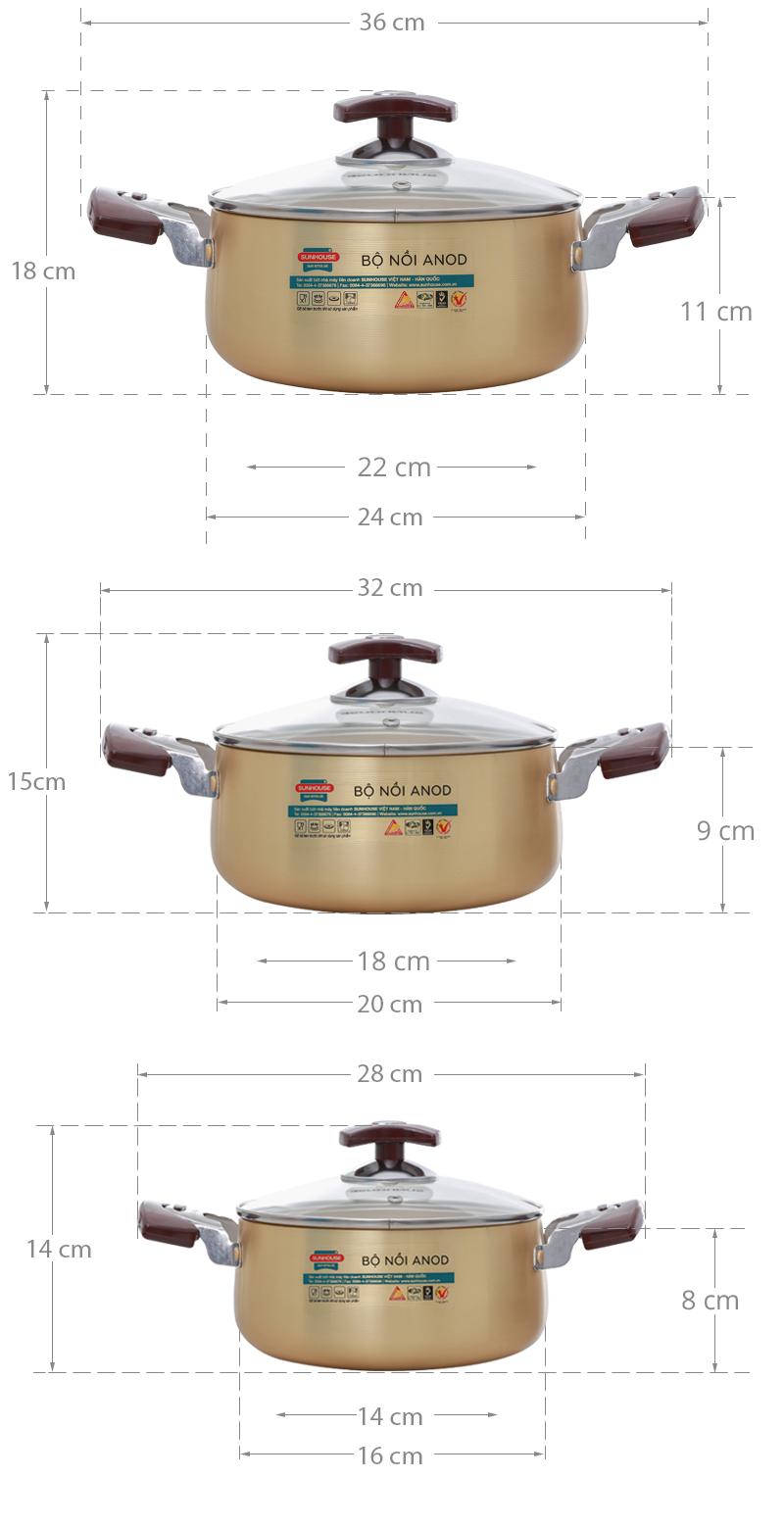 Thông số kỹ thuật Bộ 3 nồi nhôm anod Sunhouse SH6634