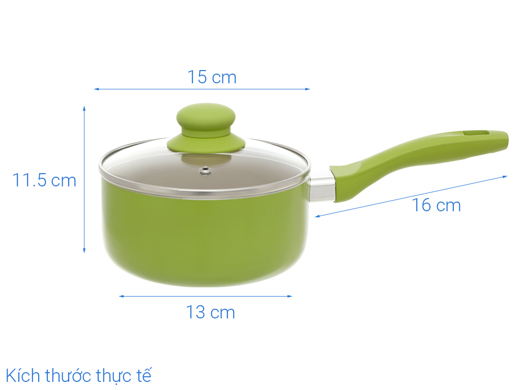 Quánh nhôm chống dính Sunhouse SMP151 xanh lá 14cm 12
