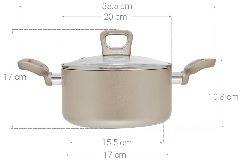 Thông số kỹ thuật Nồi nhôm chống dính đáy từ 20 cm Tefal H9104414