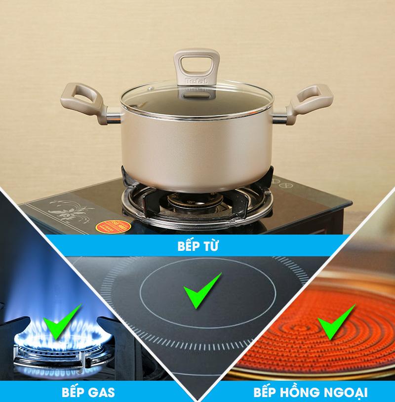 Nồi sử dụng được trên các bếp hồng ngoại, bếp gas và bếp từ - Nồi nhôm chống dính đáy từ 20 cm Tefal H9104414