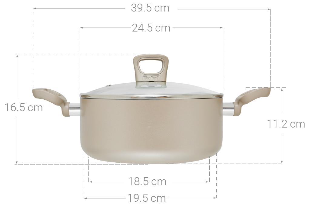 Thông số kỹ thuật Nồi nhôm chống dính đáy từ 24 cm Tefal H9104614
