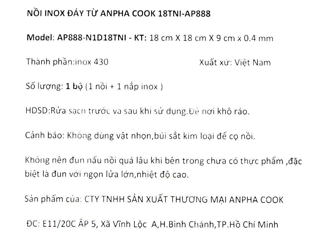 Nồi inox đáy từ Anpha Cook 18TNI-AP888 18cm 8