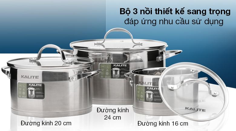 Bộ 3 nồi inox 5 đáy Kalite KL-333 - Bộ 3 nồi thiết kế nổi bật