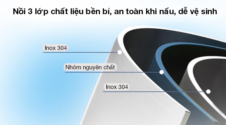 Bộ 3 nồi inox 5 đáy Kalite KL-333 - Làm từ chất liệu inox 304 - nhôm nguyên chất - inox 304