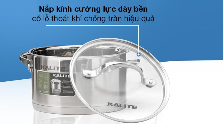 Bộ 3 nồi inox 5 đáy Kalite KL-333 - Nắp kính cường lực có độ trong suốt cao, quan sát quá trình nấu thuận tiện