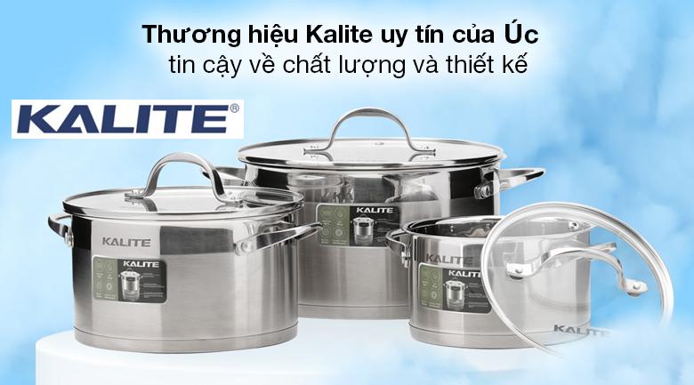 Xuất xứ, thương hiệu - Bộ 3 nồi inox 5 đáy nắp kính Kalite KL-333